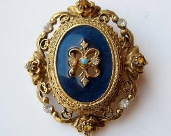 Vintage 50s Florenza Ornate Gold Blue Enamel Pearls Rhinestones Brooch Pin Necklace Pendant