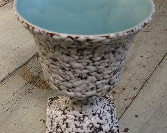 mid century art pottery vase speckled drip pottery pedestal vase brown base white drip aqua interior