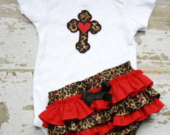 Leopard and Red Ruffle Bloomers with Matching Cross Applique Onesie