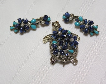 Vintage Turtle by ART Blue Cabachon Pearl Rhinestone Turtle Brooch and Clip Earrings
