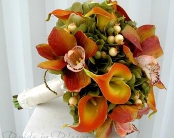 Wedding bouquet - Brides bouquet - Orchid calla lily Bridal bouquet - Sage green orange Silk wedding flowers