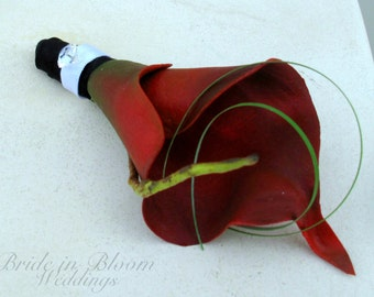 Boutonniere red calla lily wedding boutonnieres prom graduation