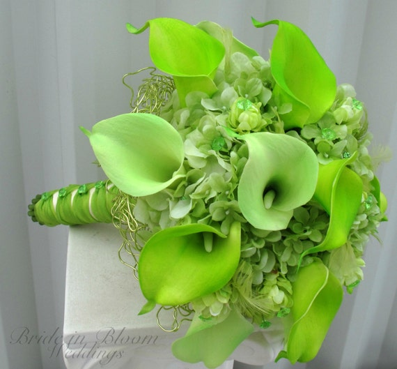 Flowers Similar To Lilies: Items Similar To Lime Green Wedding Bouquet Real Touch