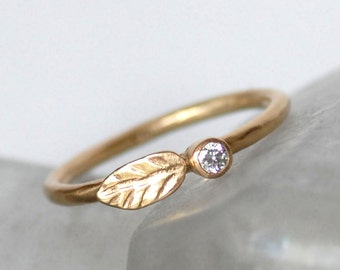 Diamond and Gold Wedding Ring - 14k Leaf and Bud Engagement Band - Eco-Friendly Recycled Gold