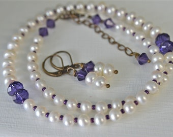 White Pearl Necklace with Dark Violet Purple Crystals and Seed Beads Handmade in Maine from North  Atlantic Art Studio by Kimberly
