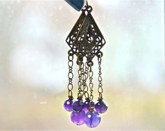 African Amethyst Chandelier Earrings Deep Purple Faceted Rounds with Antiqued Brass Metals - Made in Maine