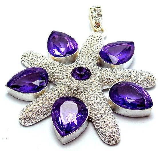 """CLEARANCE, Purple Amethyst Gemstone Pendant, Solid .925 Sterling Silver, 32 grams, 2 3/4"""" long and chain"""