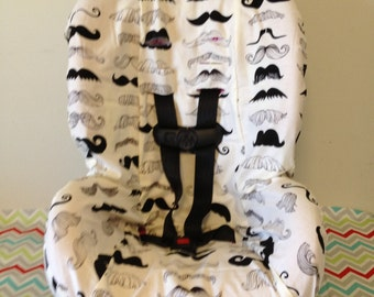 READY to SHIP TODDLER carseat cover White  Mustache