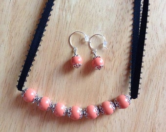 Coral and Black Necklace and Earrings Set