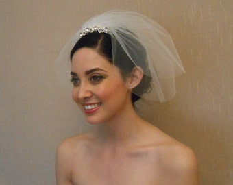 Two tier tulle birdcage veil with rhinestone piece embellished with Swarovaki pearls on comb - Ready to ship in 1 week
