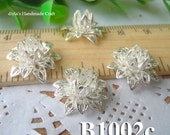 6pcs  a set 16x8mm brass plated silver filigree bead caps 3D Flower Petals Stamping for bead wraps/caps /flowers(B1002c)