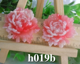 2 pieces 33x36mm High Quality Antique Pink Resin Cabochon Flowers Peony Pendant (h019b)