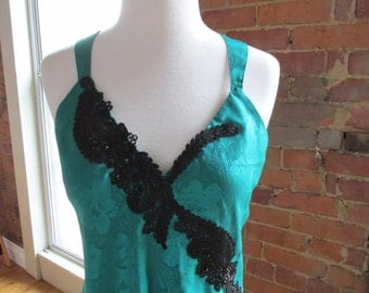 Vintage Short Green Nightgown or Chemise by Victoria Secret, Sz Medium