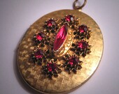 Antique Vintage Garnet Locket Victorian Revival Pendant