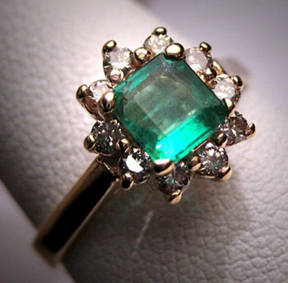 Engagement Rings Sterns: Antique Vintage Emerald Diamond Wedding Ring By