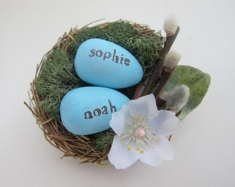 Personalized Bird Nest Keepsake - Mother's Day Gift - Grandmother - New Baby - Nursery Decor - Springtime - Family