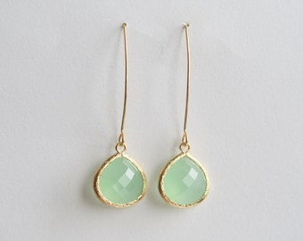 Light Mint and Gold Earrings-Light Mint drop on a gold plated earring, Light Mint Green Earrings