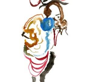 "Original Painting, Abstract Figure Art, Fashion Illustration, Gouache Painting, 6"" x 6"" - 93"