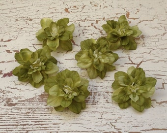 Silk Flowers - SIX Delphinium Blossoms in Apple Green - 2.5 Inches - Artificial Flowers