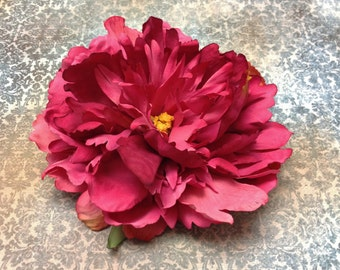 Artificial Flowers - 2 Large Fuchsia Peonies - 5 Inches - Silk Flowers