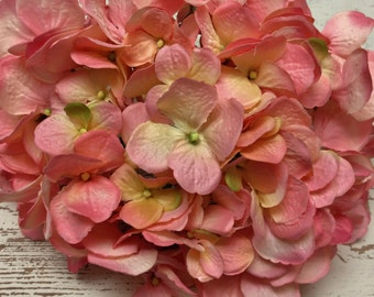 Artificial Flowers - One HUGE Hydrangea Head in Shades of Pink and Yellow - Silk Flowers