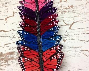 Feather Butterflies -12 Monarch Butterflies in Jewel Tones - ALMOST 3 Inches - Artificial Butterflies, Wedding Favors