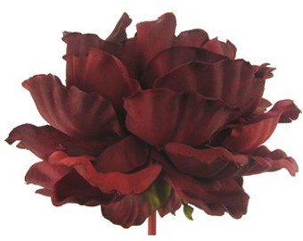 Silk Flowers - One Jumbo Artificial Burgundy Red Peony - 7 Inches - Artificial Peony