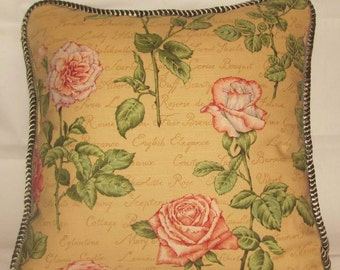 Country French Cottage Pillow Yellow Pink Rose Provence Green English Script Gold