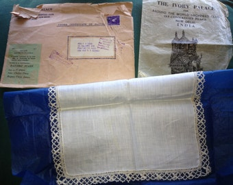 Vintage White Linen with Lace Hankie From The Ivory Palace India with Original Packaging and Envelope,