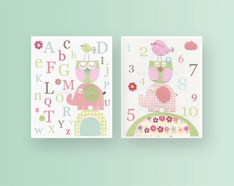 Kids Wall Art, Nursery Art Print, Baby Girl Nursery Art // Hayley bedding set // Colors Pink green aqua // Set of 2 prints// abc // 123