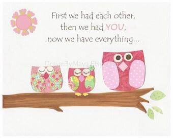 Nursery wall art print, Baby girl room decor, pink owl, baby room decor, children room art, match the colors of Hayley, pbk, pink blue gree