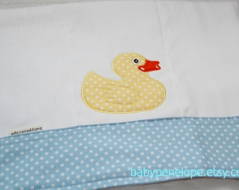 Clearance*** Boutique Style Burp Cloth - Rubber Ducky- Baby Blue and Yellow- Ready to Ship