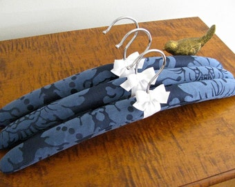Padded Hangers, Navy Damask Padded Hangers with White Organic Ribbon Accent (Set of 3)