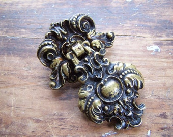 "Vintage or Antique ""Rococo"" Drop Pull Handle & Back Plate, for Furniture Drawer or Door, Ornate Cast Brass or Bronze"