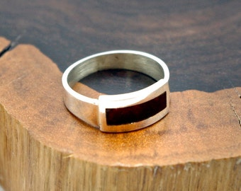 Genuine Baltic Amber Sterling Silver Inlay Ring, size 7 and 8
