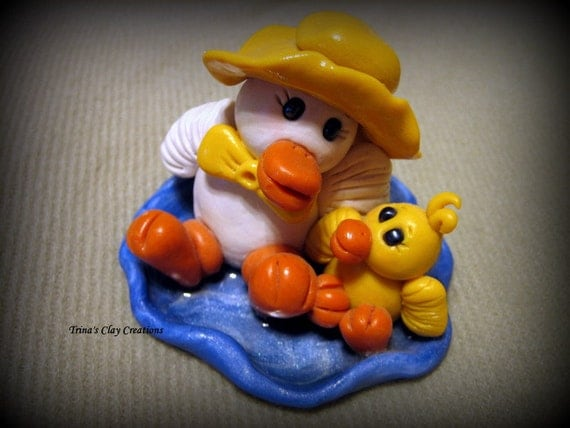 Ducks in a Puddle, Polymer Clay Sculpture, Duck, Keepsake