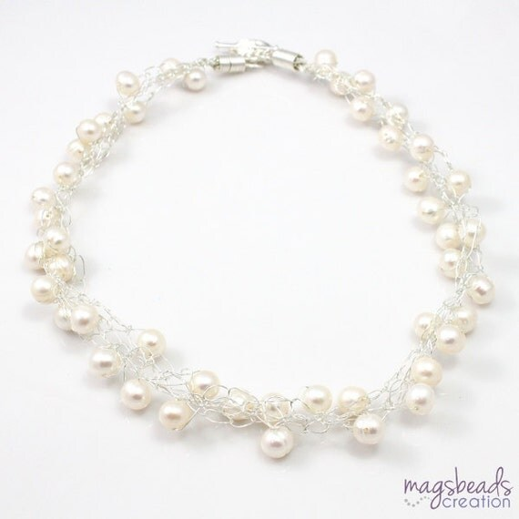 Pearls Crochet Necklace, White Pearls Necklace, Bridal Necklace, Wire Crochet Jewelry, Winter Frost, White Wedding Jewellery