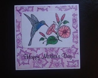 Hummingbird  & Flowers Mother's Day Card