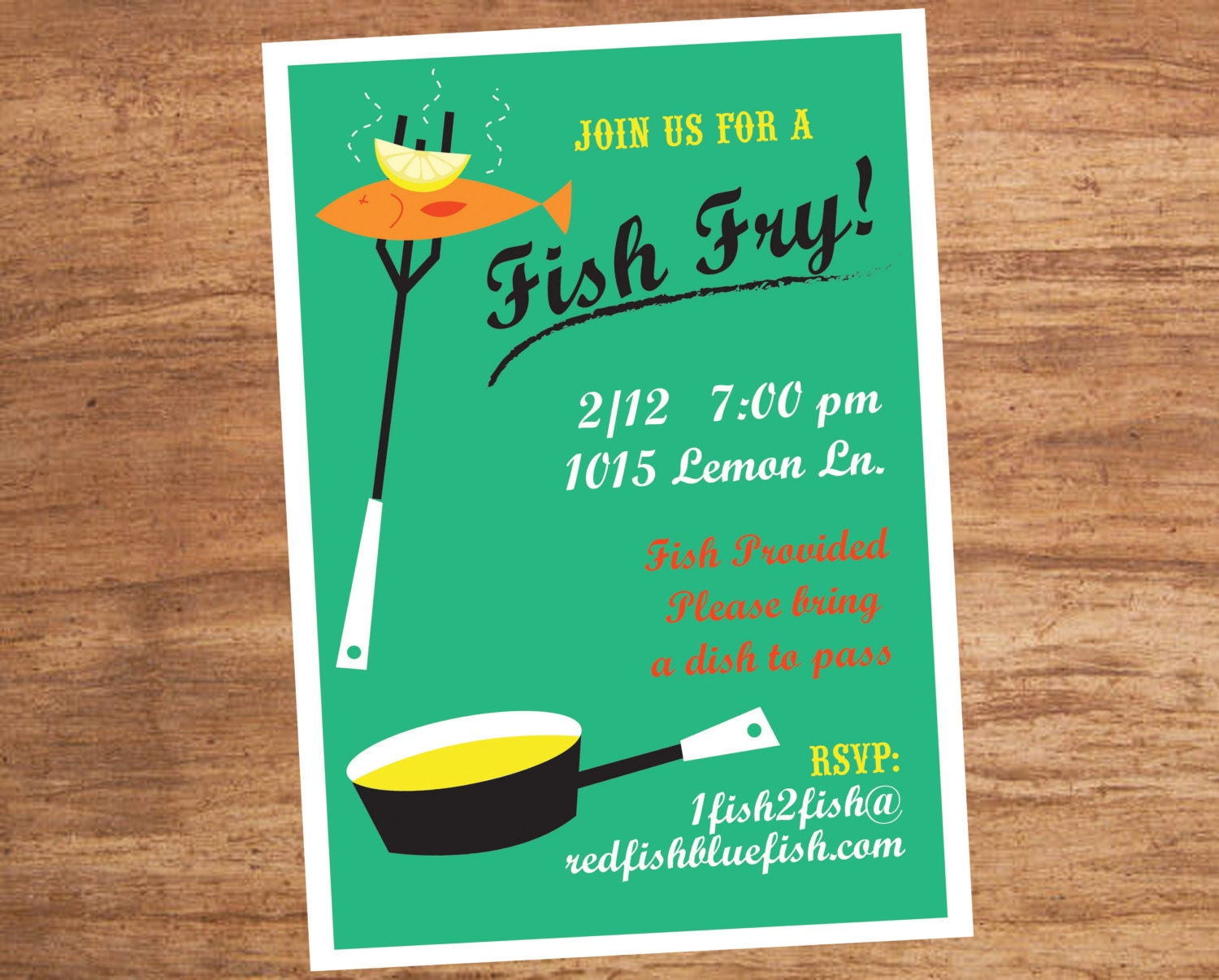 Fish Fry Dinner Party Custom Invitation