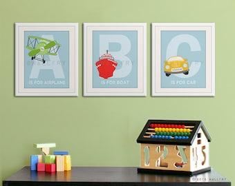 Alphabet transportation art. Nursery prints for boys. Playroom art cars, planes alphabet. SET OF ANY 3 prints by WallFry