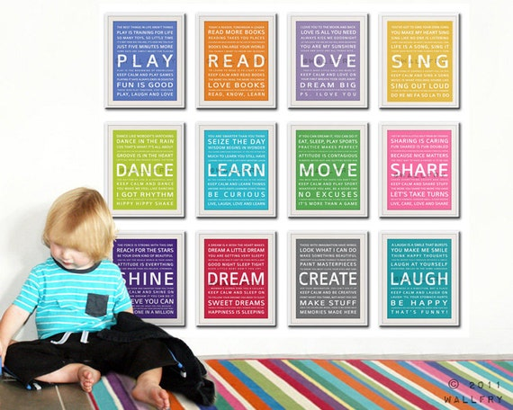 Kids Wall Art. Inspiration quote prints for. ◅