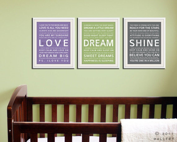 Children art print. Baby nursery art print. Typography art for kids. Nursery wall quotes. SET OF ANY 3 Cliche prints, Love, Dream, Shine