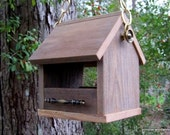 Wooden Bird Feeder, Rustic Reclaimed Natural Weathered Wood Bird Feeder, Antique Brass Chain and Perches