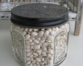 1950s Barbasol Glass Jar Old Shaving Container Vintage