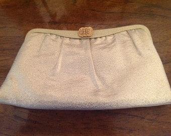 Vintage gold lame disco purse or clutch harry levine