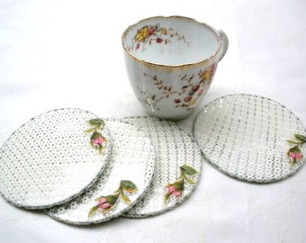 20% Off- Shabby chic coasters ,Home Ecor, Lace  Coaster set, Country French decor, Party tea set, Shabby chic coasters, Embroidery roses.
