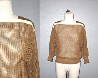 Vintage 80s sweater tan MESH KNIT slouch top - S/M
