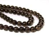 smokey quartz beads, 6mm round gemstone beads, full strand (694S)
