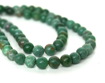 African Jade Beads, 6mm round natural green gemstone, full & half strands available  (715S)