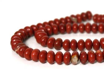 red jasper beads, 8mm rondelle natural gemstone, your choice of full or half strands   (711S)